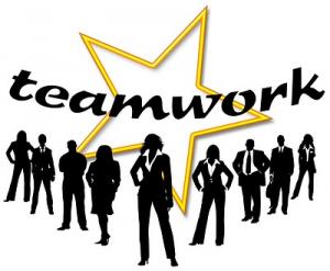 A team or men and women editors